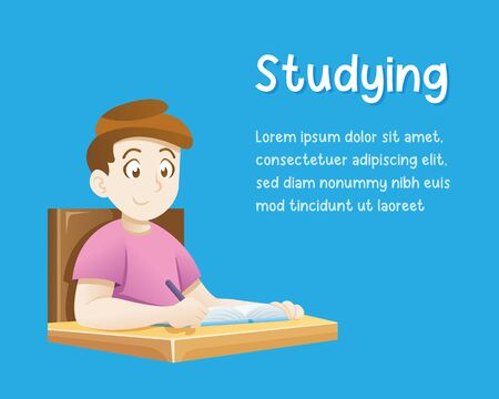 Illustration of a kid boy doing his Homework and Learning, Vector illustration of children education