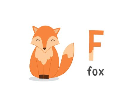 Cute animals alphabet for kids education. F for fox, Cute animal alphabet series
