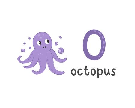 Cute animals alphabet for kids education. O for octopus, Cute animal alphabet series
