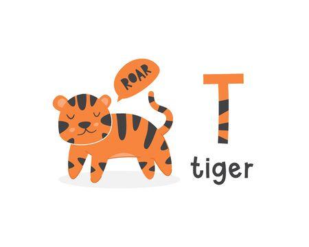 Cute animals alphabet for kids education. T for tiger, Cute animal alphabet series Illusztráció
