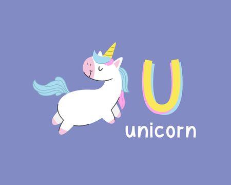 Cute animals alphabet for kids education. U for unicorn, Cute animal alphabet series