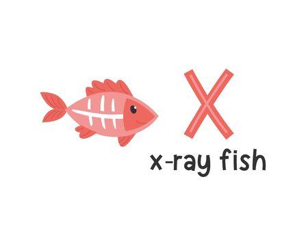 Alphabet d'animaux mignons pour l'éducation des enfants. X pour les poissons à rayons X, série alphabet animal mignon
