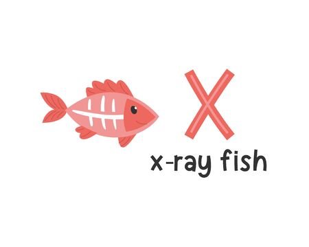 Cute animals alphabet for kids education. X for x-ray fish, Cute animal alphabet series