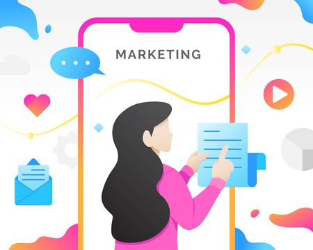 Social media management marketing concept with characters. Modern digital marketing, Mobile marketing vector concept. Internet advertising and promotion