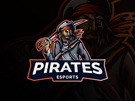Pirate vector logo template. Pirate sport gaming mascot logo template. esport gaming mascot logo template for team