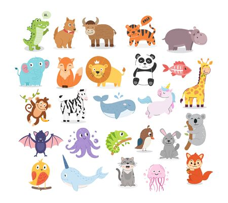 Cute cartoon animals illustration for children education. Collection of animal illustrations Vetores