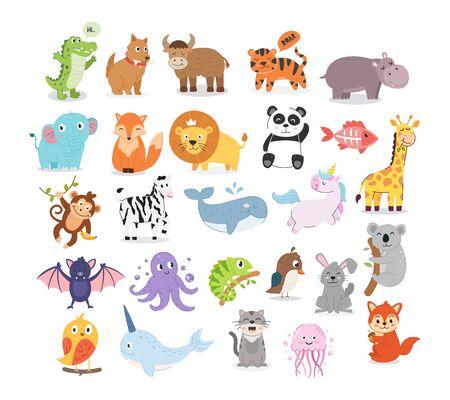 Illustration d'animaux de dessin animé mignon pour l'éducation des enfants. Collection d'illustrations d'animaux Vecteurs