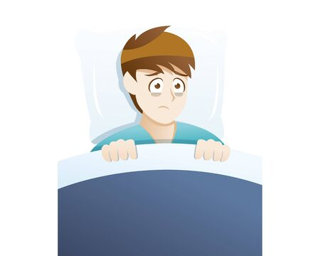 Depression symptoms sleep disturbances. Young man suffer because he cannot sleep