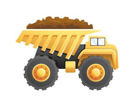 Vector illustration Dump truck construction vehicle isolated on a white background. Vector cartoon of a heavy vehicle for construction and mining
