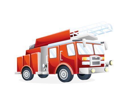 Illustrazione vettoriale Camion dei pompieri. Veicolo di trasporto antincendio per estinguere il fuoco Illustrazione vettoriale piatta Vettoriali