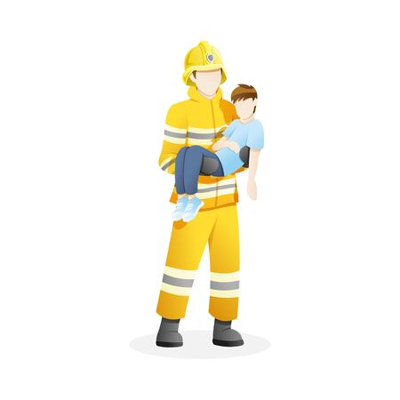 Vector illustration Male firefighter save boy from fire. Man who work as firefighter flat vector illustration Çizim