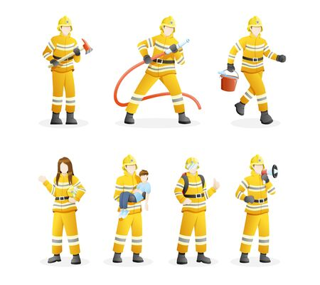 Vector illustration Firefighters with equipment. Set of Firefighters put out fires and save civilians. Vector flat illustration