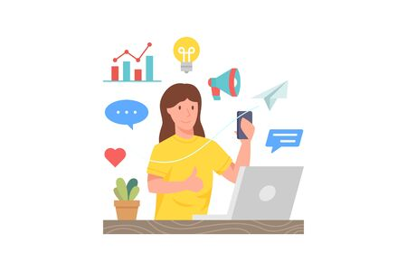 Vector illustration Woman holding smartphone in front of laptop. Concept illustration of digital marketing. Vector flat illustration Ilustração