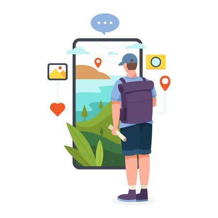 Vector illustration Man stand in front of smartphone screen holding map and backpack. Tourist standing in front of large smartphone screen with beautiful natural landscape. Vector flat illustration Zdjęcie Seryjne - 138003653