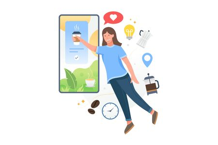 Vector illustration Woman floating takes coffee from the screen of smartphone. Buy coffee online with the mobile application, Coffee shop illustration concept. Vector flat illustration