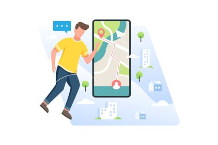 Vector illustration Young men looking for location of place or friend position with mobile application. Man floating with large smartphone. Concept illustration of navigation technology