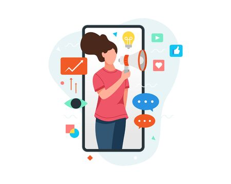 Vector illustration Woman on smartphone screen holding megaphone. Young woman promotes business with social media, Concept illustration of digital marketing with mobile phone. Vector flat illustration