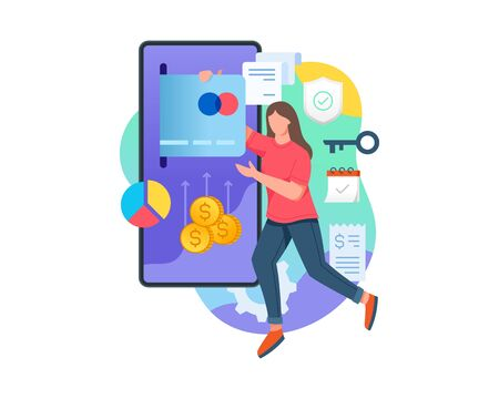 Vector illustration Woman make online payment with mobile phone application. Young women holding credit card make payment, Concept of online transaction technology. Vector flat illustration