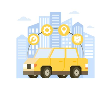 Vector illustration Yellow car in the background of the cityscape with maintenance or repair shop icons. Concept illustration of online car service, repair and maintenance. Flat vector illustration