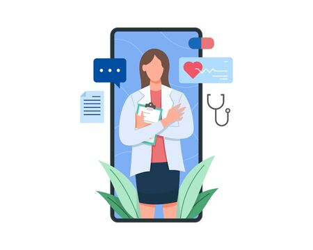 Vector illustration Female doctor on the screen of smartphone holding clipboard. Online health consultation with mobile phone, Concept of medical technology flat vector illustration