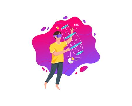 Vector illustration Young man wearing virtual reality glasses. Concept of virtual reality technology flat vector illustration
