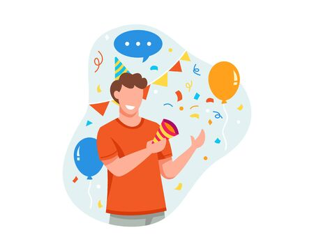Vector illustration Young man is happy to celebrate something good. Young man holding party popper celebrating or partying flat vector illustration