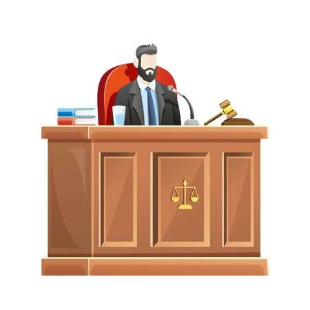 Vector illustration Judge sitting behind the desk court in courthouse, Male judge presides at the courtroom. Concept illustration of law and court, Vector cartoon illustration Ilustração