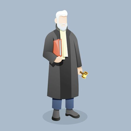 Vector illustration Judge or lawyer carry document holding gavel, Male judge brought the court document with gavel in his hand. Concept illustration of law and court, Vector cartoon illustration Ilustração