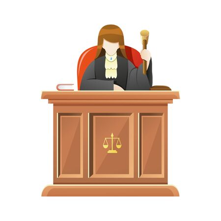Vector illustration Judge sitting behind the desk court in courthouse holding wooden gavel, Female judge give verdict in court. Concept illustration of law and court, Vector cartoon illustration