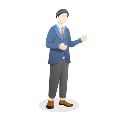 Vector illustration Employee or a businessman waving hand, Young man standing in a suit and tie. Concept illustration of employee or businessman, Vector cartoon illustration