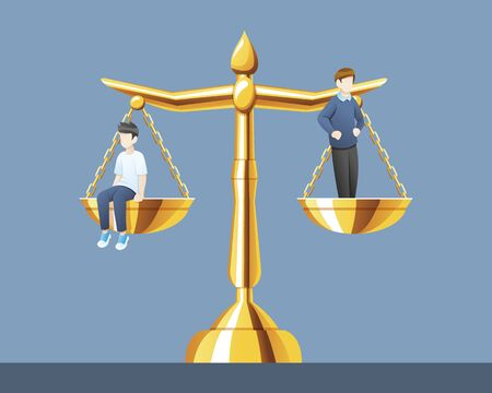 Vector illustration Scales of justice with the same weight, Equality of law and legal balance for two people. Concept illustration of law and court, Vector cartoon illustration