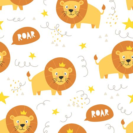 Vector seamless pattern Cute lion with crown, Adorable little lion seamless pattern. Vector cute animal background Banque d'images - 140026398