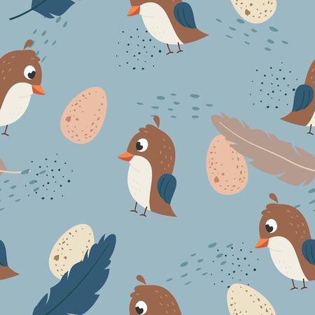Vector seamless pattern Cute quail with egg, Adorable little quail seamless pattern. Vector cute animal background