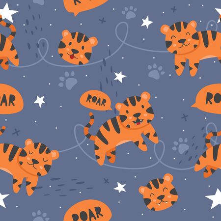 Vector seamless pattern Cute tiger, Adorable little tiger seamless pattern. Vector cute animal background Illustration