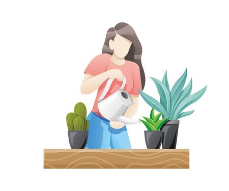 Vector illustration Young woman watering houseplants. Woman caring for flowers or indoor plants. Vector flat style illustration