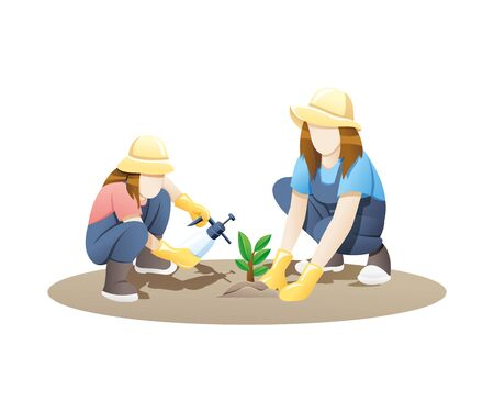 Vector illustration Woman and girl gardening together. Mother and daughter planting flowers in the garden. Gardening vector concept white isolated background