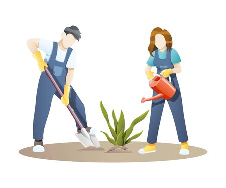 Vector illustration Woman and man gardening together. Couple planting flowers or plants in the garden. Gardening vector concept white isolated background