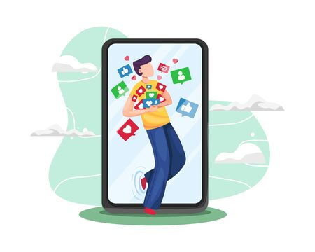 Vector illustration Young man addicted social media. Young man grabbing like notifications, Addicted to social media and online feedback. Addiction to internet approval and validation. Vector flat illustration