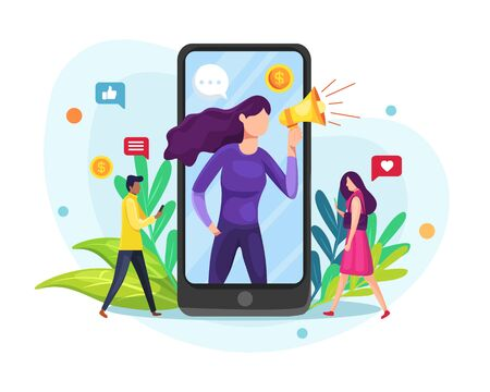 Vector illustration Influence or blogger. Mobile phone, woman with megaphone on screen and young people surrounding her. Influencer, social media or network promotion. Vector flat illustration