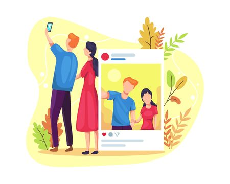 Vector illustration Social media concept. Couples taking selfies together, uploading photos on social media. Vector flat illustration