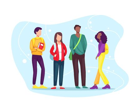 Vector illustration Group of students with books and backpacks. Multiethnic group of young students standing together, education and youth concept. Vector illustration in flat style Vektoros illusztráció