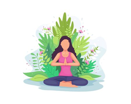 Vector illustration Woman doing yoga exercise. Girl in yoga lotus pose with floral, Practicing yoga, Young woman meditates. Meditation concept illustration in a flat style Illusztráció
