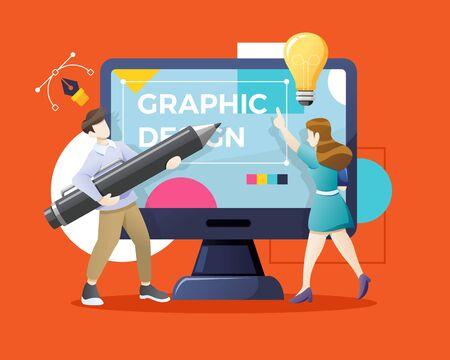 Vector Young man and woman drawing with pen in graphic editor. Graphic designer hiring concept. Designers or illustrators working together on giant computer display. Vector illustration in flat style