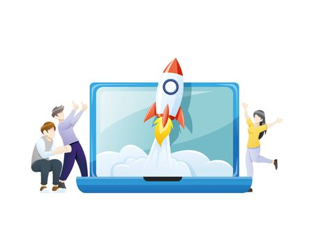 Vector illustration Startup concept. Successful launch of start-up, Business Start up launching product with rocket concept. Vector illustration in flat style