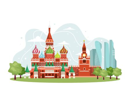 Vector illustration Russia landmark. Russia skyline, Landmark Kremlin palace, St. Isaac's Cathedral illustration. Famous Russia travel places and explore travel landmarks. Vector in flat style