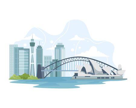 Vector illustration Australia skyline and landmark. Travel to Australia, advertising illustration, Traveling banner. Australia Cityscape with Landmarks. Vector illustration in flat style