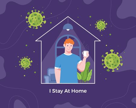 Vector illustration stay at home concept. Young man at home enjoying a cup of coffee. Quarantine and self-isolation, Prevent and stop the spread of corona virus. Vector in flat style