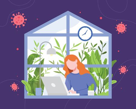 Woman working from home. Work from home during an outbreak of the COVID-19 virus. People work at home to prevent virus infection. Freelance woman working on laptop at her house. Vector in flat style