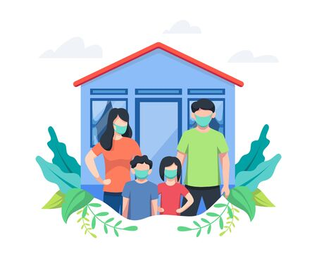 Vector illustration Stay at home. Family stay at home, Father, Daughter, Son and Mother. Stay at home during coronavirus pandemic concept illustration. Vector illustration in flat style Vettoriali