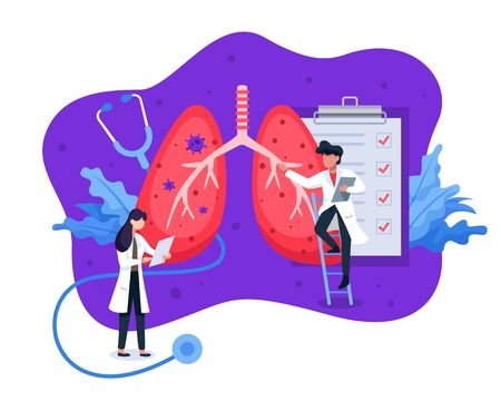 Illustration concept of Pulmonology. Lung health diagnosis concept, doctors and scientists examine lung health. Internal organ inspection check for illness, disease or problems. Vector in flat style Vettoriali